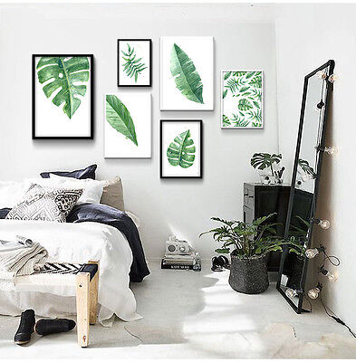 Watercolor Tropical Plant Leaves Minimalism Art Canvas Poster Home Decoration