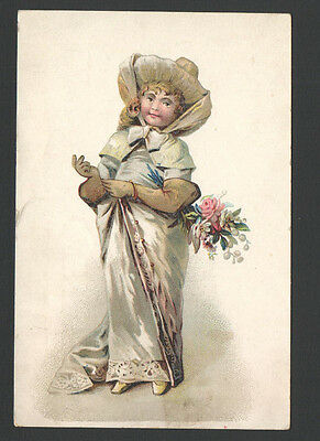 Victorian Advertising Trade Card Lion Coffee Dressed up Woman Hat Gloves &Flower