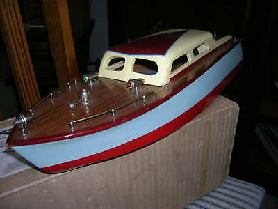 TOY WOOD BOAT Cabin Cruiser Imp  Ito K&o Vintage Wooden Battery Operated &  Box