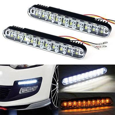 2 x 19cm 30 SMD Dual Function DRL With Amber Indicator 6000k White Kia