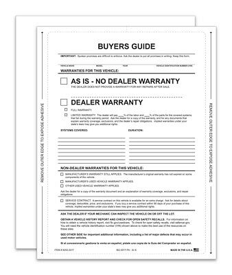 Car Dealer Buyer Guides  Sealed on all 4 sides 1 Pack of 100 - AS IS FORMS 2018