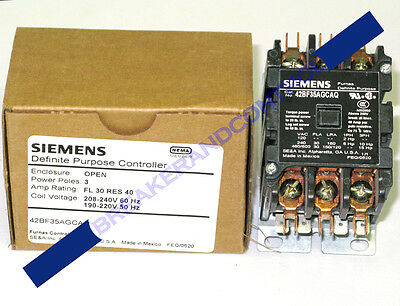New Siemens / Furnas 42Bf35Agcaq 3P/30A/240V Definite Purpose Contactor