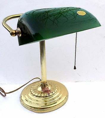 Vintage Brass Bankers Desk Lamp with Green Hand Blown Glass Shade
