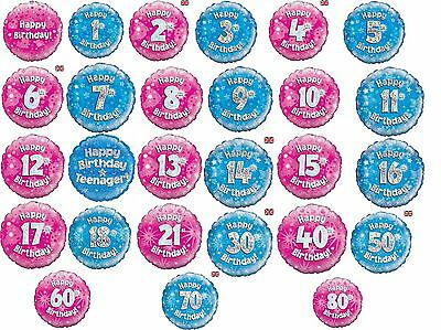 "Party Balloons 18"" Air Helium Filled Pink Blue Decorations Birthday Age"