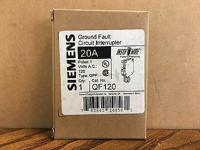 NEW! Siemens QF120 20A 120VAC 1-Pole Ground Fault Circuit Interrupter Breaker