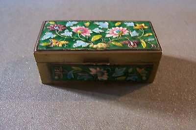Antique Chinese enamel and brass stamp box, detailed floral design