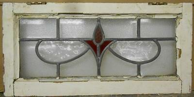 "MID SIZED OLD ENGLISH LEADED STAINED GLASS WINDOW Abstract Swag 26.25"" x 12.75"""