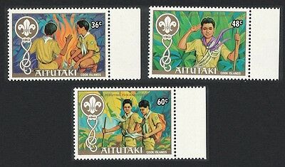Aitutaki 75th Anniversary of Boy Scout Movement 3v Left Margins SG#434/36