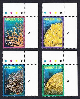 Aruba Corals 4v Top Right Corners with Traffic Lights SG#369/72 SC#272-75