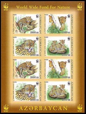 Azerbaijan WWF Caucasus Leopard Imperforated Sheetlet of 2 sets / 8 stamps