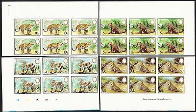 Belize WWF Jaguar 4 imperforated Blocks of 6 with perfect margins SG#756/759 var