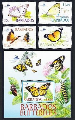 Barbados Butterflies 4v+MS SG#1261/MS1265 SC#1073-77