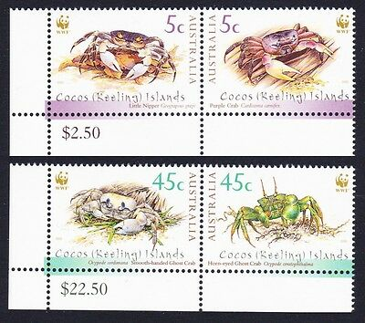 Cocos (Keeling) Is. WWF Crabs 4v in pairs Bottom Left corners SG#389/92