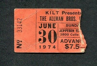1974 Allman Brothers concert ticket stub Houston TX Brothes and Sisters