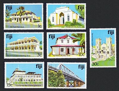 Fiji Architecture 7v Issue 1980 Ordinary Paper COMPLETE SG#580Ac/590Ac