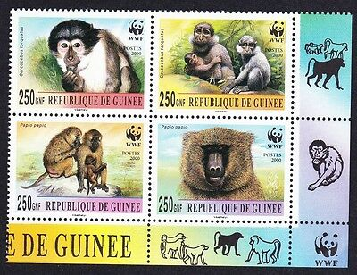 Guinea WWF Mangabey & Baboon Bottom right block 2*2 with WWF Logo