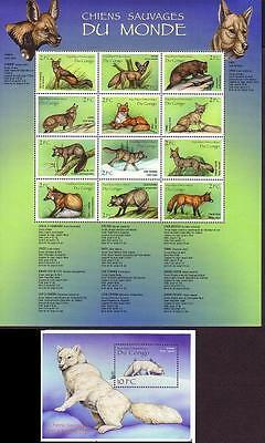 DR Congo Wild Dogs Foxes Sheetlet+MS SG#1595/MS1607