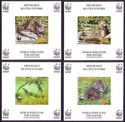 Ivory Coast WWF Speckle-throated Otter 4 Souvenir Sheets imperforated reprint