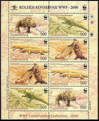 Indonesia WWF Komodo Dragon Sheetlet of 2 sets / 8 stamps SG#2620/23 SC#1911-14