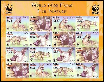 Eritrea WWF Aardwolf Imperforated Sheetlet of 4 sets SG#488/91 SC#350 a-d