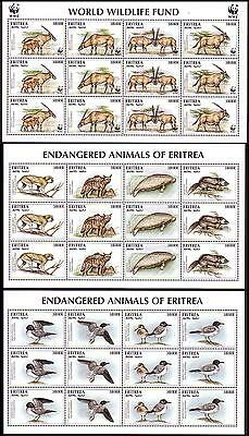Eritrea WWF Beisa Oryx 3 Sheetlets including 2 without WWF logo SG#319/22 SC#261