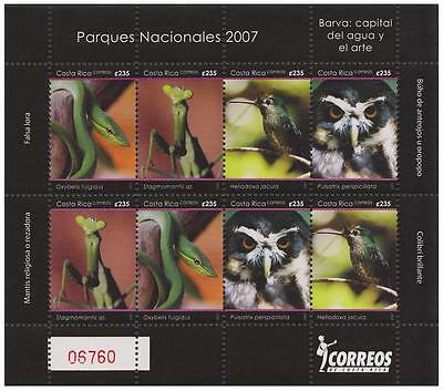 Costa Rica Owl Birds Snake Insects Sheetlet of 8 SG#1844/47 MI#1676-79