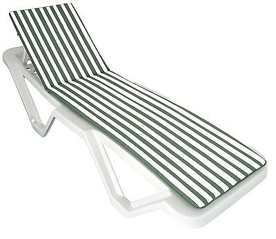 Green / White Sun Lounger Cushion Pad for Sunlounger Garden Patio Bed