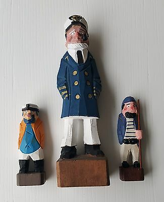 Lot of 3 Hand Carved Wood Nautical Folk Art Figurines