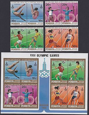 Penrhyn Moscow Olympic Games Medal Winners 8v+MS SG#152/MS160 SC#119-123