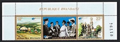 Rwanda Royal Visit Top strip of 3 with Control Number SG#479/81 SC#469a