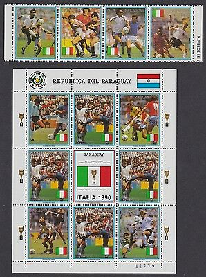 Paraguay World Cup Football Championship Italy strip of 4v+Sheetlet SC#2309-2310