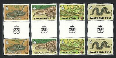 Swaziland Snakes 4v Gutter Pairs with King's Emblem SG#746/49 SC#652-55