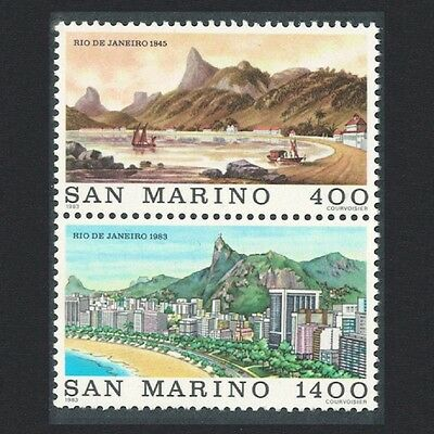 San Marino 'Brasiliana 83' International Stamp Exhibition 2v Vertical pair