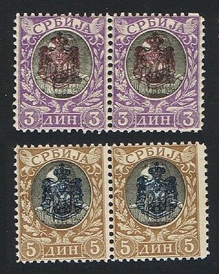 Serbia Overprints 3 Din and 5 Din in pairs SG#102/03 SC#76-77