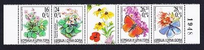 Serbia and Montenegro Butterflies Moths Flora strip of 4v and label with control