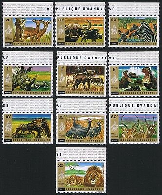 Rwanda Wild Animals Birds 10v with top margins SG#456/65 SC#444-453