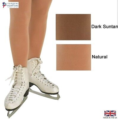 Girls/ladies Full Footed Quality Ice Skating Tights In (Natural Or Dark Suntan)