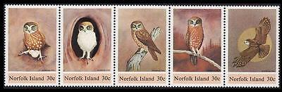 Norfolk Boobook Owl strip of 5 SG#338/42