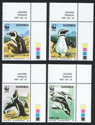Namibia WWF Jackass Penguin 4v Upper Right Corners with Date SG#713/16 SC#821-24