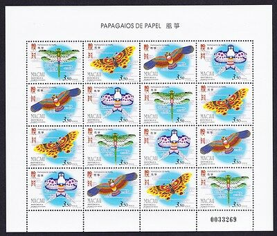 Macao Macau Paper Kites Sheetlet of 4 sets SG#958/61 SC#847a MI#883-86
