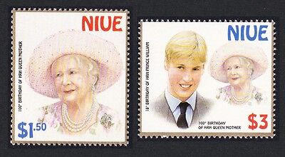 Niue William and Queen Mother Birthdays 2v SG#879/80 SC#746-747