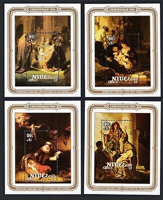 Niue Rembrandt Paintings Christmas 4 MSs Charity SG#MS453 SC#350-353
