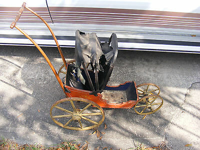 Antique Victorian Doll Carriage Buggy Wood Wheels Original Folding Top