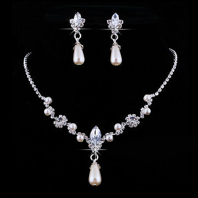 Women Wedding Jewelry Crystal Pearl Sliver Plated Pendant Necklace Earrings Set