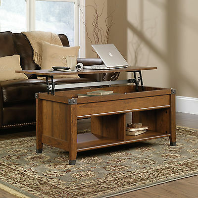 Sauder Lift Top Coffee Table Carson Forge Collection Washington Cherry Finish