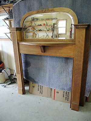 Fireplace Suround - 1930's Carved Oak  / Mantle & Beveled Mirror - Antique