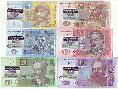 Ukraine Donetsk People's Republic Set 6 Hologramic Countermarked Banknotes, Unc