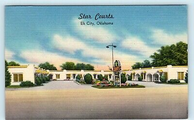 ELK CITY, Oklahoma  OK   Route 66 STAR COURTS  Roadside Linen  1952  Postcard