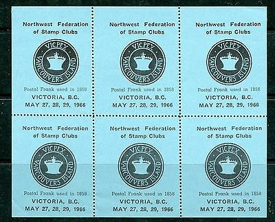 Weeda Canada VF MNH 1966 VICPEX stamp show labels, pane of 6, nice Cinderellas