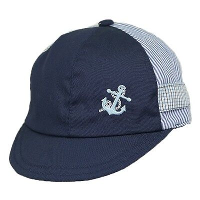Baby Boys Summer Hat Nautical Traditional Cap Navy & White by Pesci Baby